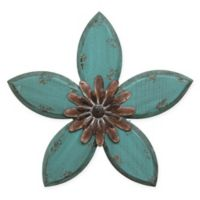 Stratton Home Decor Antique Flower Wall Sculpture in Teal/Red