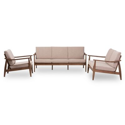 Baxton Studio Venza 3 Piece Living Room Set In Light Brown