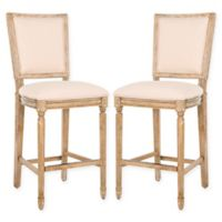 Safavieh Buchanan Rectangle Bar Stool in Beige/Rustic Oak (Set of 2)