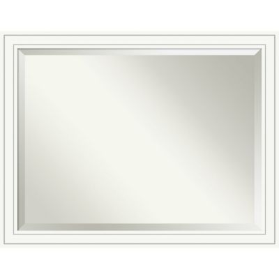 Amanti Art Craftsman Large Bathroom Mirror In White