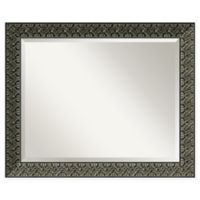 Amanti Art Intaglio 33-Inch x 27-Inch Bathroom Mirror in Embossed Black