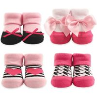 Hudson Baby® 4-Piece Heart Socks in Box Set in Pink