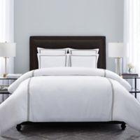 Wamsutta® Hotel Triple Baratta Stitch Full/Queen Duvet Set in White/Charcoal
