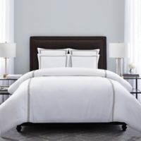 Wamsutta® Hotel Triple Baratta Stitch Full/Queen Duvet Set in White/Charcoal