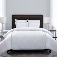 Wamsutta® Hotel Triple Baratta Stitch King Duvet Set in White/Sea Glass