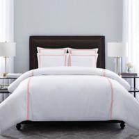 Wamsutta® Hotel Triple Baratta Stitch King Duvet Set in White/Coral