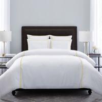 Wamsutta® Hotel Triple Baratta Stitch King Duvet Set in White/Yellow