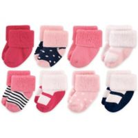 Luvable Friends™ Newborn 8-Pack Mary Jane Socks in Navy