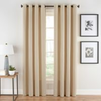 Honeycomb Matelassé 108-Inch Grommet Top Window Curtain Panel in Champagne