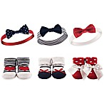 Hudson Baby® 6-Piece Headband and Sock Set in Red/White/Blue