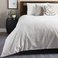 Brielle 630-Thread-Count Premium Long Staple Cotton King Duvet Cover in White Stripe