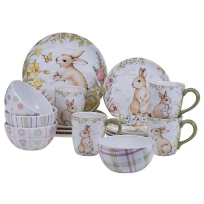 Certified International Bunny Patch by Susan Winget 16-Piece Dinnerware Set in Pastel  sc 1 st  Bed Bath u0026 Beyond : paradiso dinnerware - Pezcame.Com