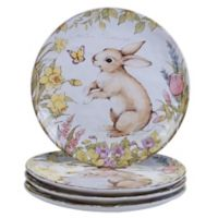 Certified International Bunny Patch by Susan Winget Dinner Plates in Pastel (Set of 4)
