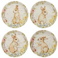 Certified International Bunny Patch by Susan Winget Dessert Plates in Pastel (Set of 4)