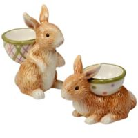 Certified International Bunny Patch by Susan Winget 3D Egg Cups in Pastel (Set of 6)