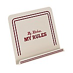 "Cake Boss™ Countertop Accessories Metal ""My Kitchen My Rules"" Cookbook Stand in Cream"