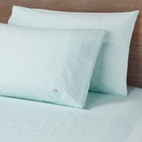 Lacoste Printed Bird Eye Percale 300-Thread-Count Queen Sheet Set in Mint
