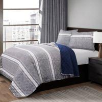 Lush Décor Marlton Stripe Reversible Full/Queen Quilt Set in Grey