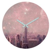 DENY Designs Bianca Green Stardust Covering New York 12-Inch Round Wall Clock