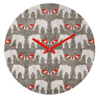 DENY Designs Holli Zollinger Elephant and Umbrella 12-Inch Round Wall Clock