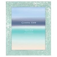 Coastal 8-Inch x 10-Inch Matted Medium Plastic Frame in Turquoise Sequin