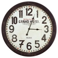 Yosemite Home Décor French Grande Hotel Wall Clock in Black/White