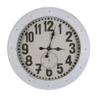 Yosemite Home Décor Kennack Sands Vintage Wall Clock in White