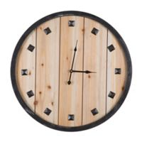Yosemite Home Décor Rustic Planks Wall Clock in Natural Wood