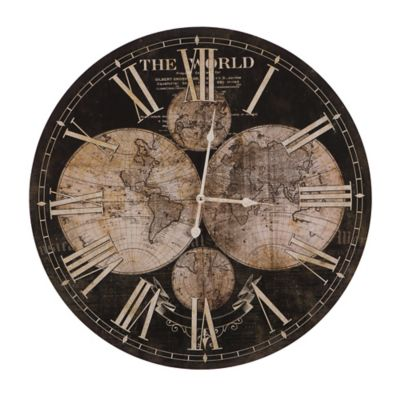Buy world wall clocks from bed bath beyond yosemite home decor ancient world map wall clock in brownbeige gumiabroncs Image collections