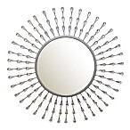 Stratton Home Décor 29-Inch Round Teardrop Wall Mirror in Silver