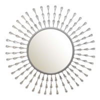 Stratton Home Décor 29-Inch Round Teardrop Wall Mirror in Silver