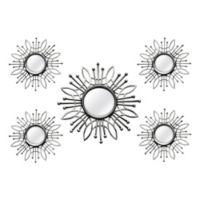 Stratton Home Décor 15.5-Inch Round Burst Mirror in Silver (Set of 5)