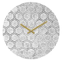 DENY Designs Kelly Haines Concrete Hexagons 12-Inch Round Wall Clock in Grey