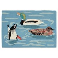 Liora Manne Duck Life Lake 2'6 x 4' Indoor/Outdoor Accent Rug in Blue
