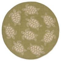 Liora Manne Sea Turtle 7'10 Round Indoor/Outdoor Area Rug in Green