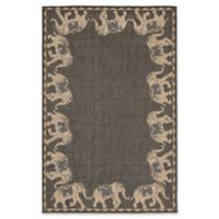 Liora Manne Marching Elephants 7'10 Square Indoor/Outdoor Area Rug in Slate Grey