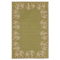 Liora Manne Marching Elephants 7'10 Square Indoor/Outdoor Area Rug in Green