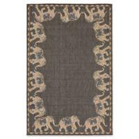 Liora Manne Marching Elephants 7'10 x 9'10 Indoor/Outdoor Area Rug in Slate Grey