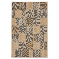 Liora Manne Box Leaves Meadow 4'10 x 7'6 Area Rug in Slate Grey