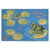 Liora Manne Frogs 2'6 x 4' Handcrafted Indoor/Outdoor Accent Rug in Green
