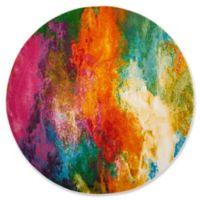 "Safavieh Watercolor 6'7"" x 6'7"" Collage Rug in Orange"