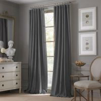 Valeron Estate Cotton Linen 120-Inch Rod Pocket Window Curtain Panel in Charcoal