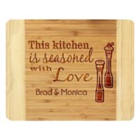Stamp Out Kitchen Season With Love 11-Inch x 14-Inch Bamboo Cutting Board