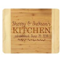 Stamp Out Couple's Kitchen 14-Inch x 11-Inch Bamboo Cutting Board