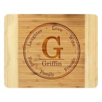 "Stamp Out ""Laughter, Love, Wine"" 11-Inch x 14-Inch Bamboo Cutting Board"