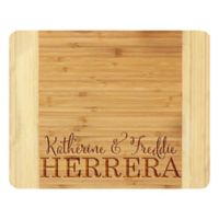 Stamp Out Couple Names and Last Name 11-Inch x 14-Inch Bamboo Cutting Board