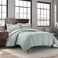 Garment Washed Solid Full/Queen Comforter Set in Seaglass