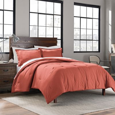 Garment Washed Solid King Comforter Set In Coral