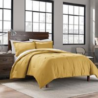 Garment Washed Solid King Comforter Set in Gold