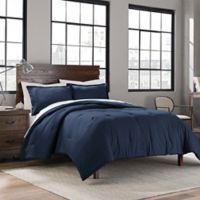 Garment Washed Solid King Comforter Set in Navy